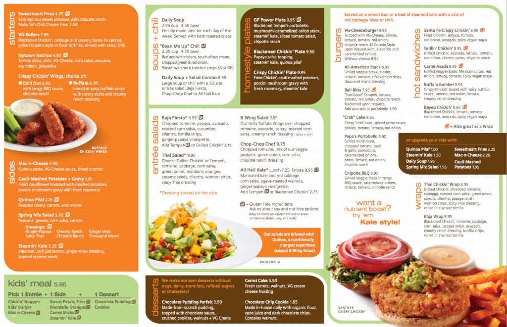 the veggie grill menu