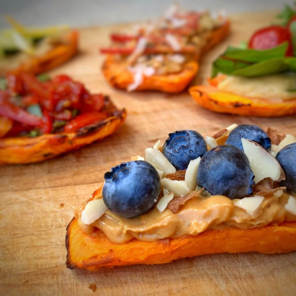 sweet potatoasts with blueberries